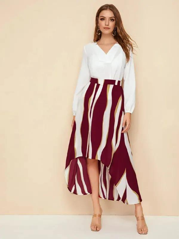 Colorblock High Low Hem Skirt