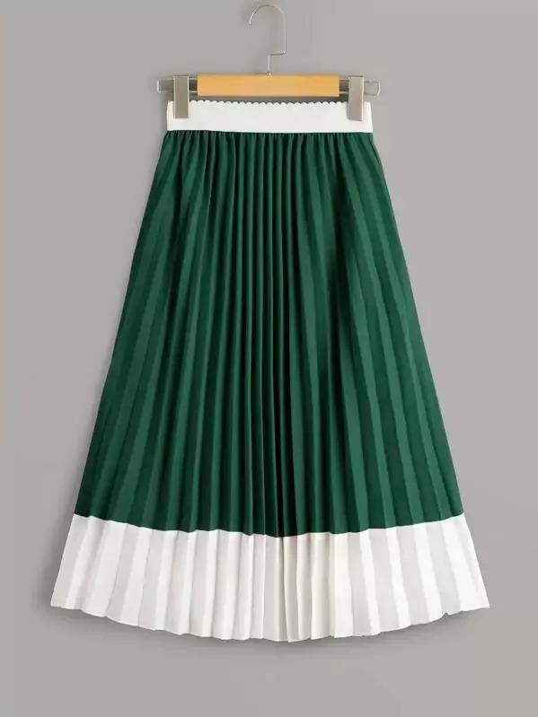 Colorblock Pleated Elastic Waist Skirt