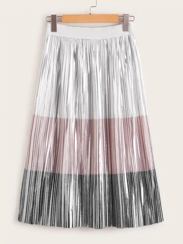 Colorblock Pleated Metallic Skirt