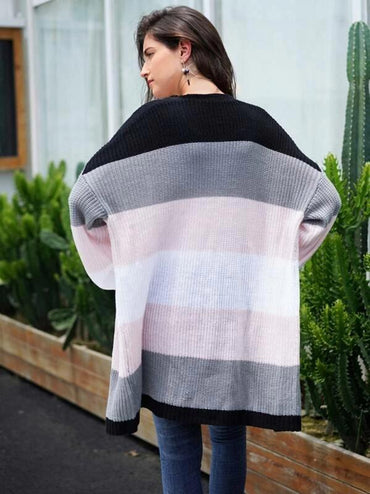 Colorblock Stripe Drop Shoulder Longline Cardigan