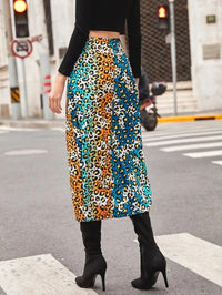 Women Colorblock Leopard Split Thigh Skirt