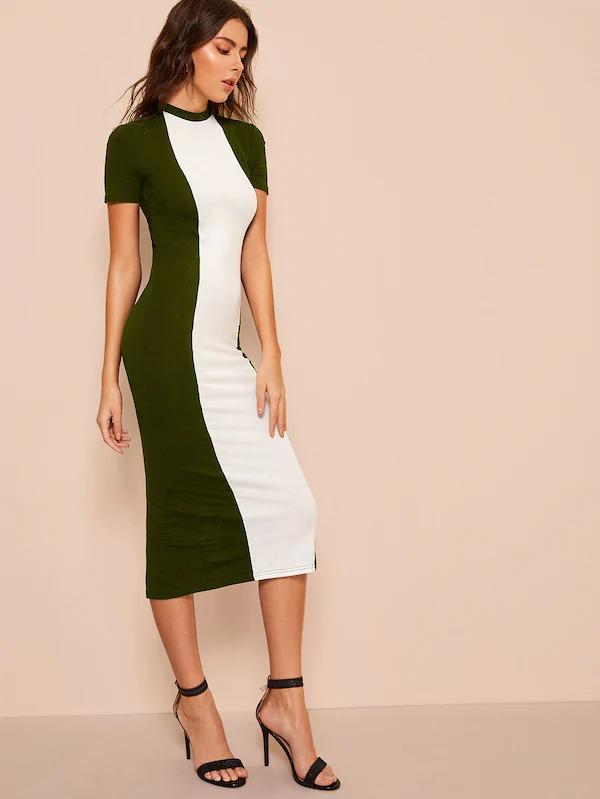 Colorblock Bodycon Dress Without Belt