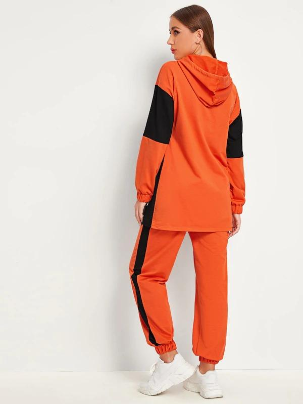 Colorblock Drop Shoulder Hoodie & Sweatpants Set