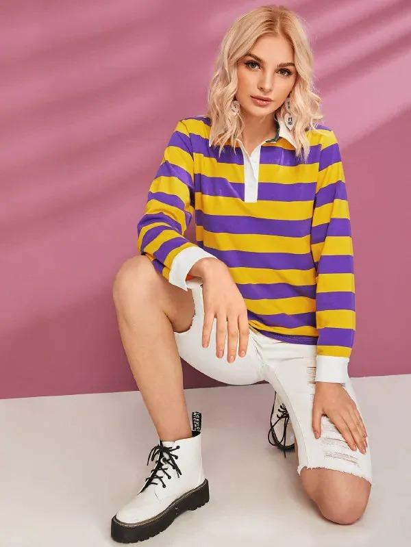 Colorblock Half Breasted Striped Sweatshirt