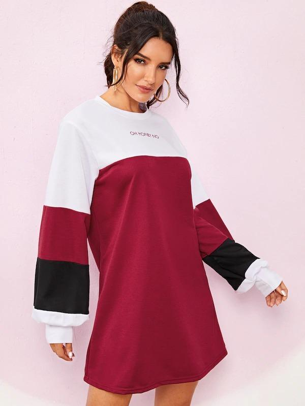 Colorblock Letter Print Sweatshirt Dress
