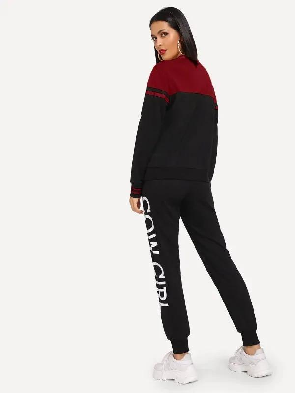 Colorblock Letter Sweatshirt And Drawstring Waist Sweatpants Set