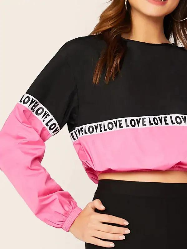 Colorblock Lettering Tape Top & Cycling Shorts Set