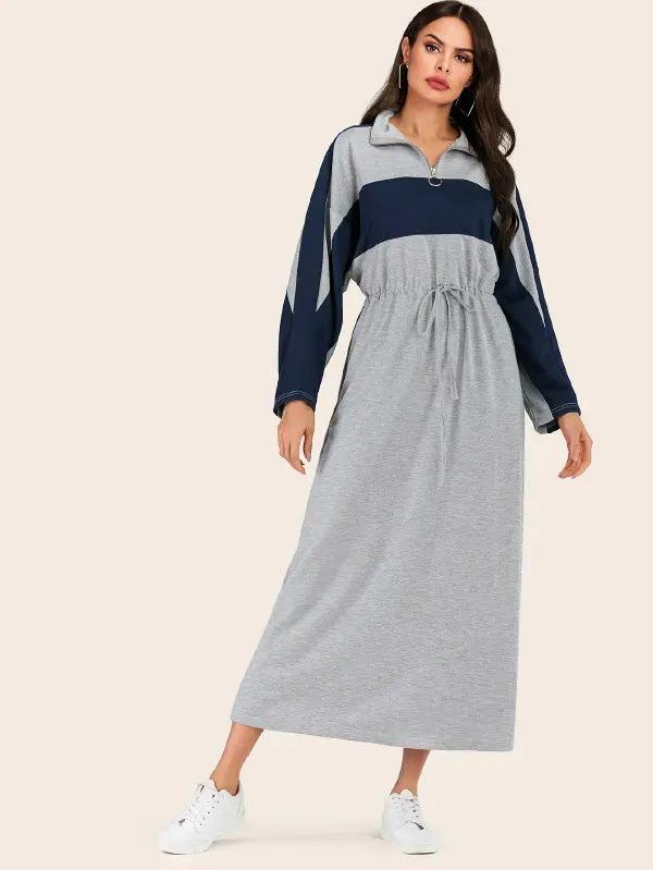 Colorblock O-Ring Zip Half Drawstring Dress