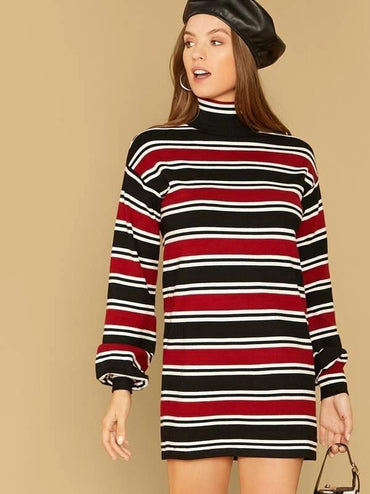 Colorblock Striped Tee Dress