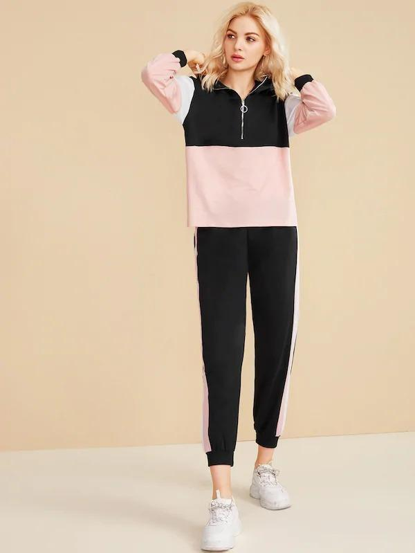 Colorblock Zip Front Hoodie With Side Striped Sweatpants