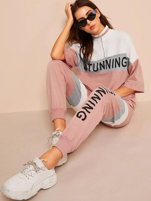 Colorblock Zip Half Placket Lettering Sweatshirt & Pants Set
