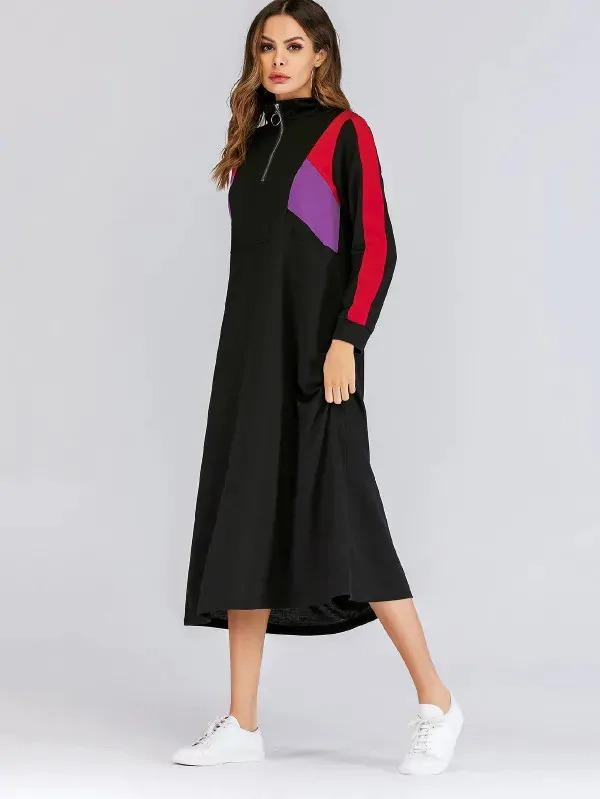 Colorblock Zip Half Placket Sweatshirt Dress