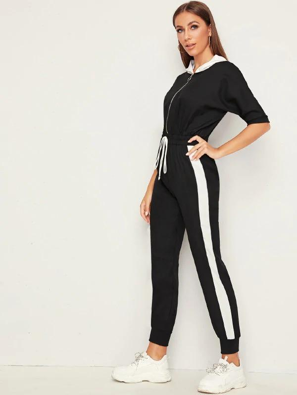 Colorblock Zip Up Hooded Drawstring Jumpsuit