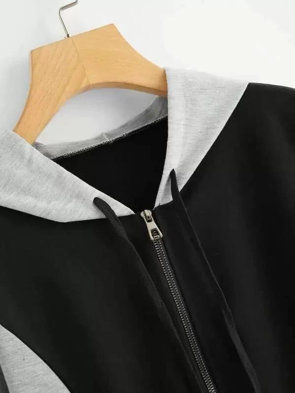 Colorblock Zip Up Hooded Jacket