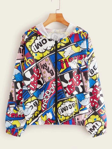 Comic Print Zip-Up Hooded Jacket