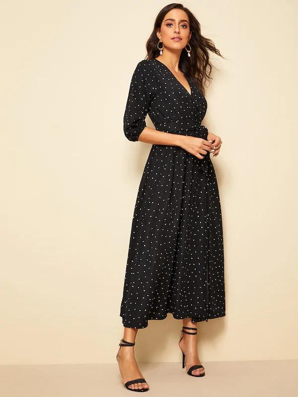Confetti Print Bishop Sleeve Belted Maxi Dress