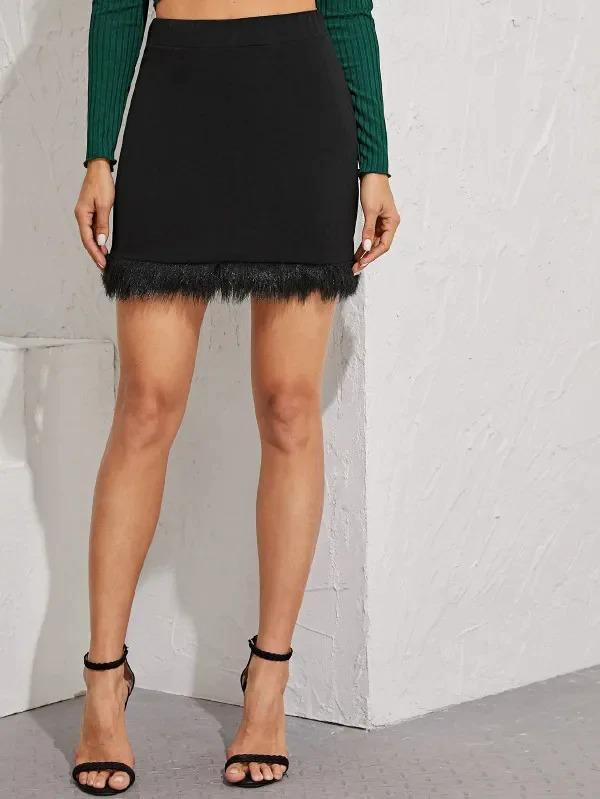 Contrast Faux Fur Bodycon Skirt
