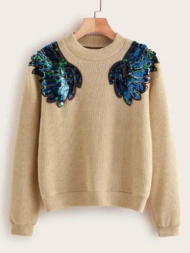 Contrast Sequin Drop Shoulder Sweater