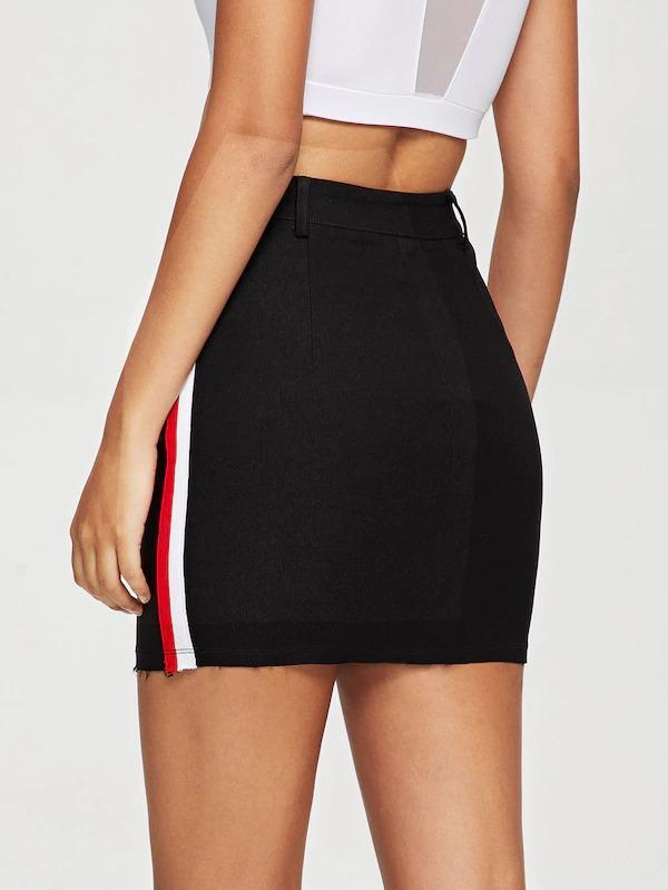 Contrast Tape Side Bodycon Skirt