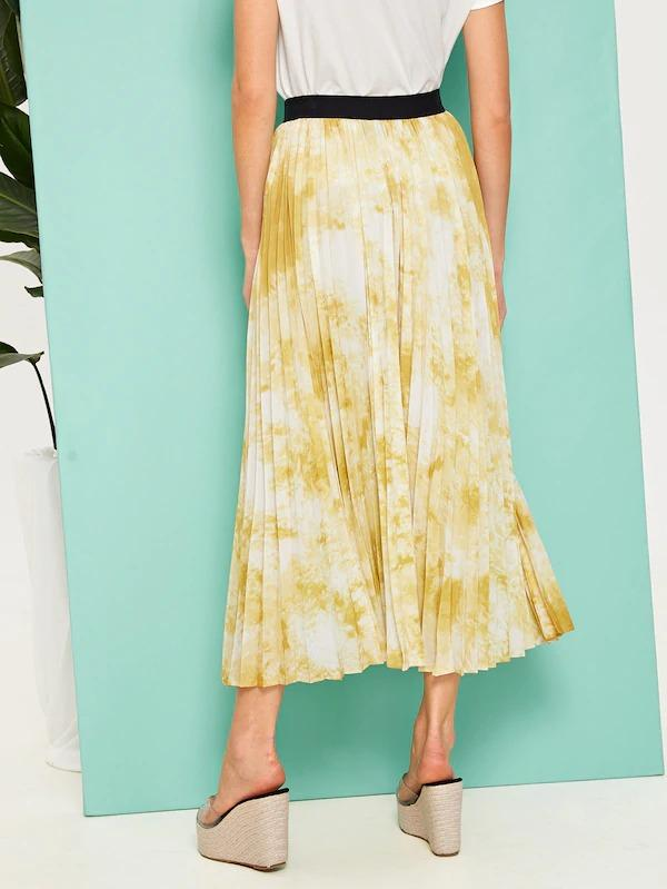 Contrast Waist Tie Dye Pleated Skirt