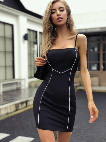 Women Contrast Binding Bodycon Cami Dress