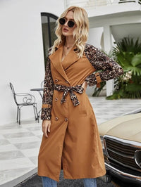 Women Contrast Leopard Double Breasted Belted Trench Coat