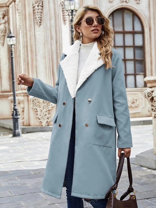 Women Contrast Teddy Lapel Collar Double Breasted Coat