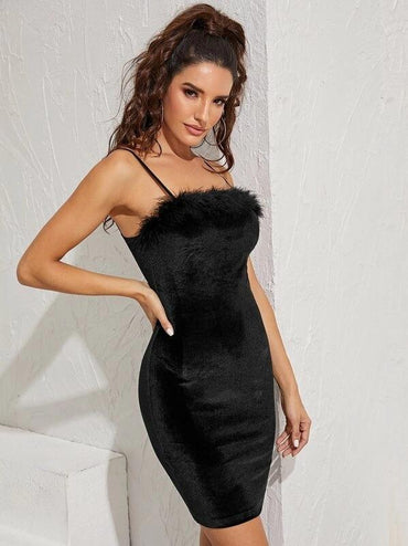 Contrast Feather Flannel Cami Bodycon Dress