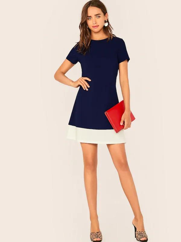Contrast Hem A-Line Dress