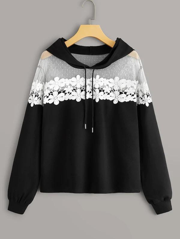 Contrast Lace Drawstring Hoodie