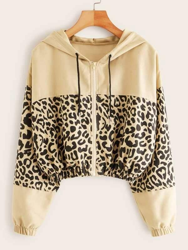 Contrast Leopard Panel Drawstring Hooded Jacket