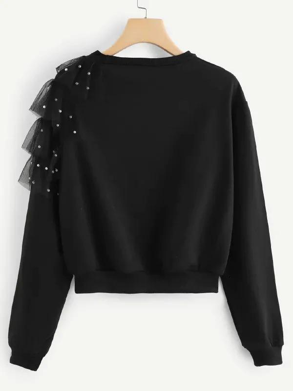 Contrast Mesh And Beaded Sweatshirt