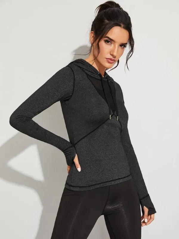 Contrast Mesh Hooded Sports Sweatshirt With Thumb Holes