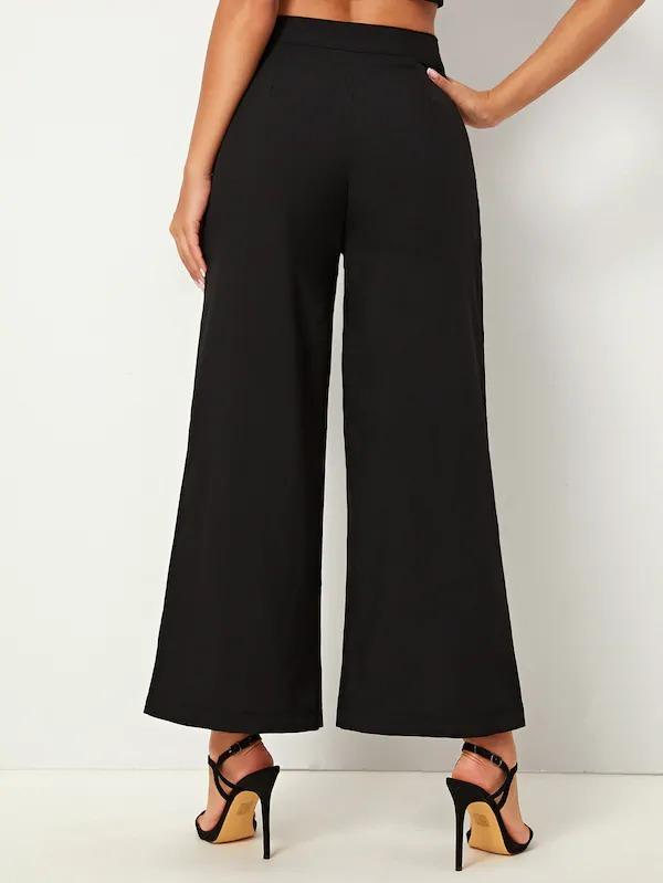 Contrast Panel Double Breasted Pants