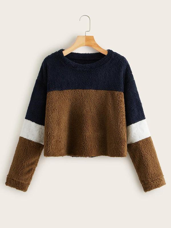 Contrast Panel Drop Shoulder Teddy Sweatshirt