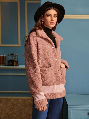 Contrast Panel Dual Pockets Teddy Coat