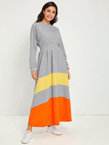 Contrast Panel Gathered Waist Maxi Sweatshirt Dress