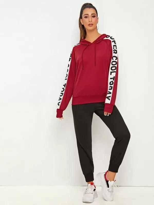 Contrast Panel Letter Print Drawstring Hoodie