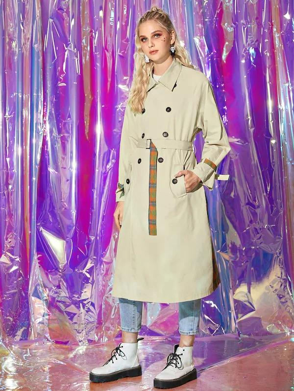 Contrast Panel Plaid Belted Trench Coat