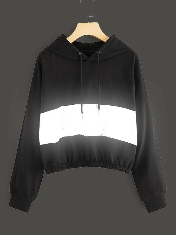 Contrast Panel Reflective Crop Sports Hoodie