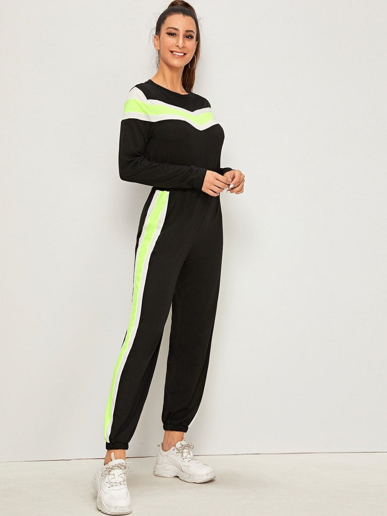 Contrast Panel Round Neck Sweatshirt With Sweatpants