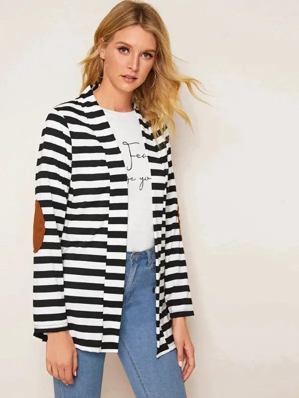Contrast Panel Striped Print Coat