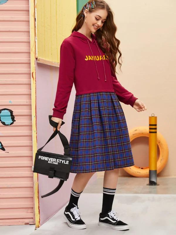 Contrast Plaid Drawstring Hoodie Dress