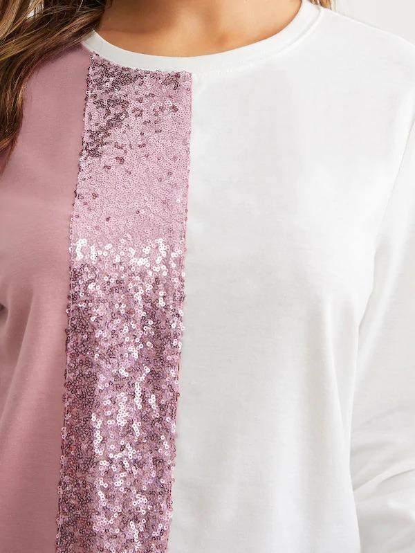 Contrast Sequin Detail Colorblock Pullover
