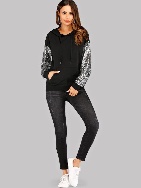 Contrast Sequin Drawstring Hoodie