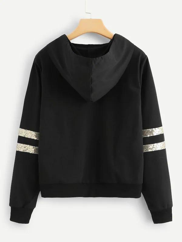 Contrast Sequin Hooded Sweatshirt