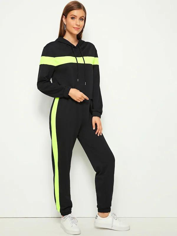 Contrast Side Seam Drawstring Hoodie & Pants Set