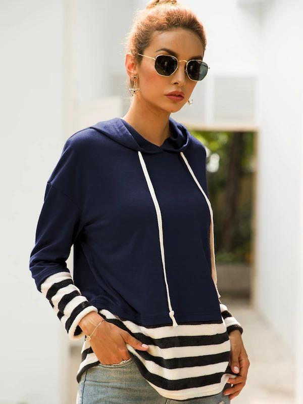 Contrast Striped Panel Hooded Sweatshirt
