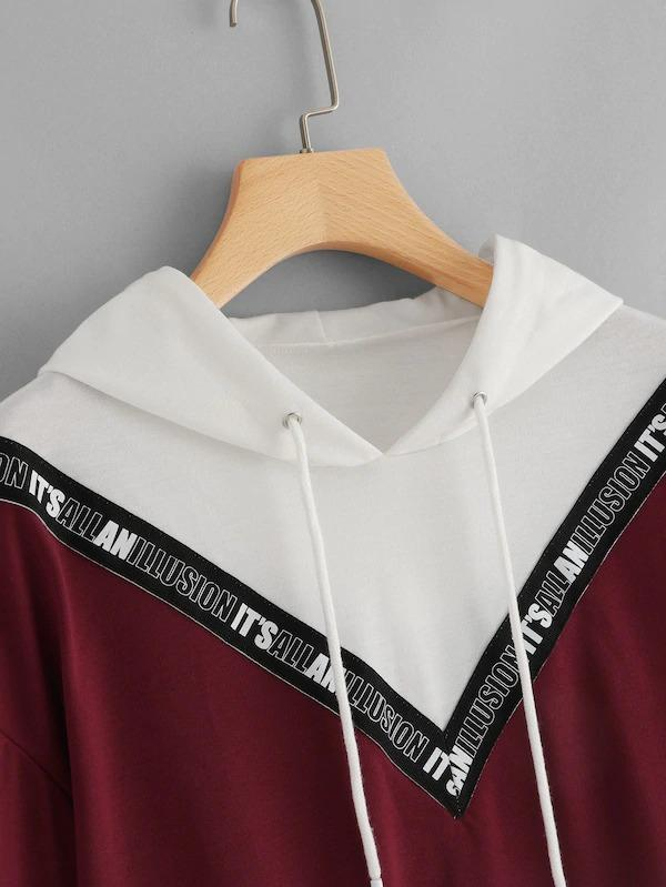 Contrast Taped Drawstring Detail Hoodie