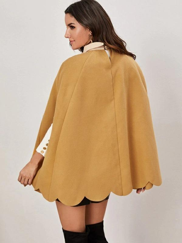 Contrast Tie Neck Scallop Hem Colorblock Cape Coat